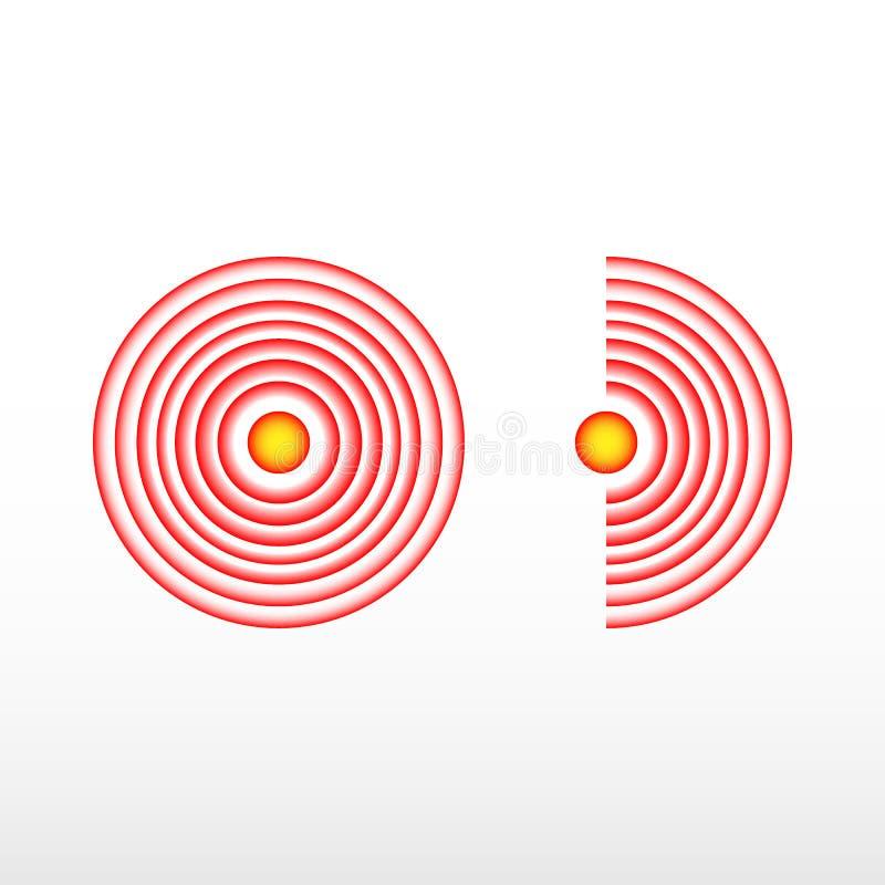 Círculo del dolor o marca roja de la localización, muestra de dolor del lugar, símbolo abstracto del dolor, punto dolorido o marc ilustración del vector