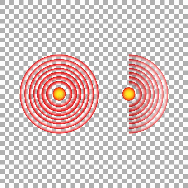 Círculo del dolor o marca roja de la localización, muestra de dolor del lugar, símbolo abstracto del dolor, punto dolorido o marc libre illustration