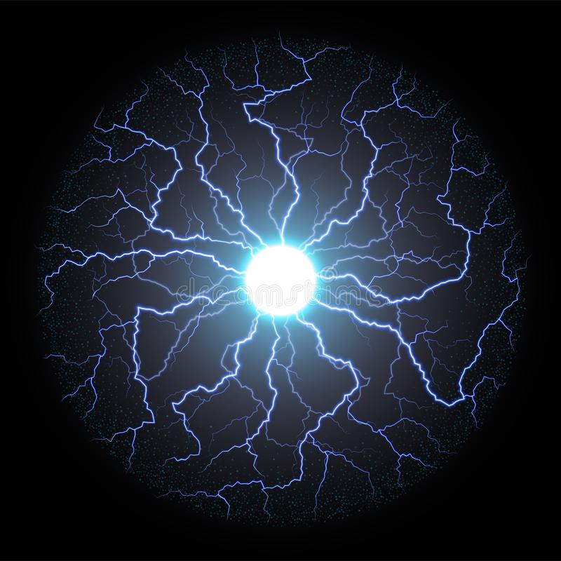 Círculo del flash de la luz eléctrica o del relámpago del vector stock de ilustración