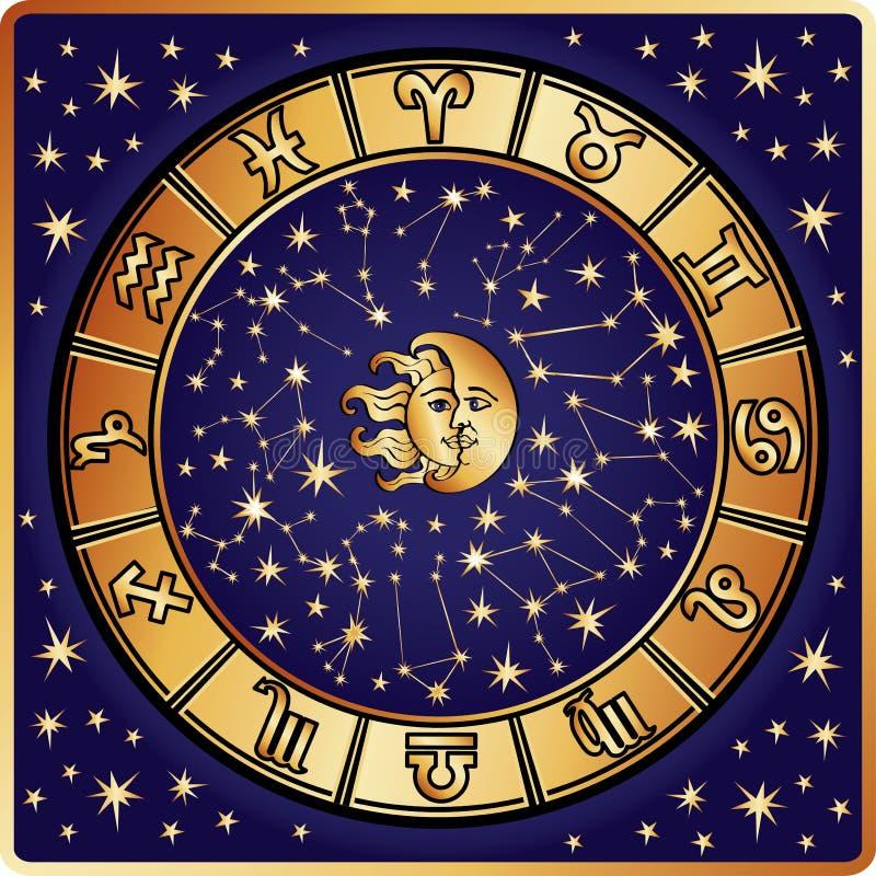 Círculo del horóscopo. Muestra del zodiaco stock de ilustración