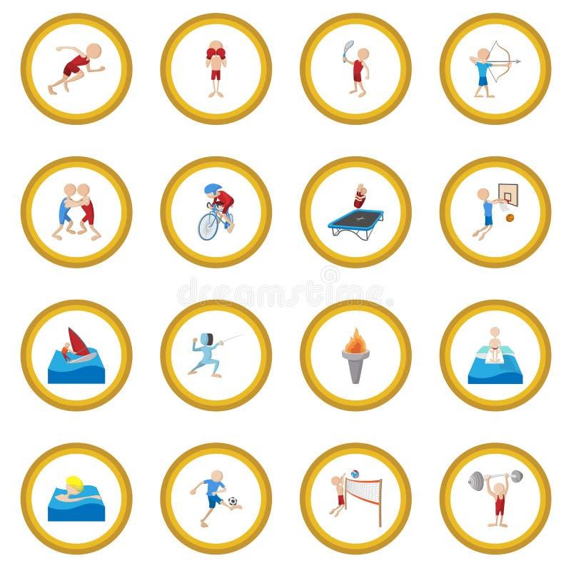 Círculo del icono de la historieta del deporte del verano libre illustration