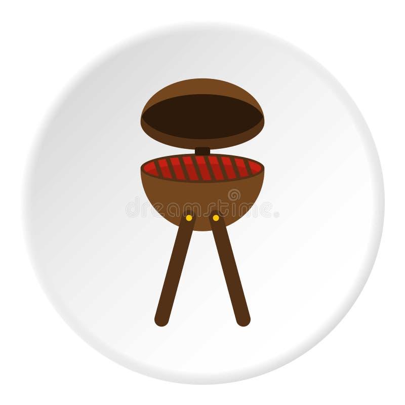 Círculo del icono de la parrilla del partido del Bbq stock de ilustración