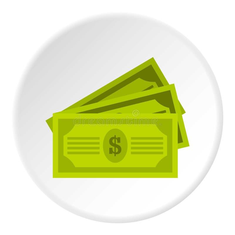 Círculo del icono de tres billetes de dólar ilustración del vector