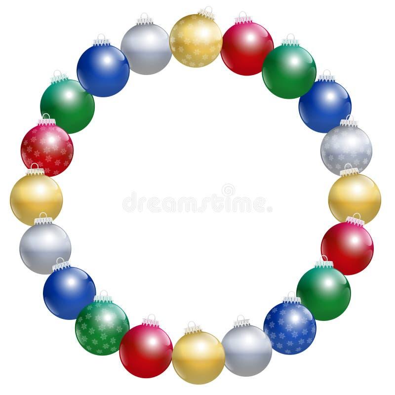 Círculo del marco de las bolas del árbol de navidad stock de ilustración