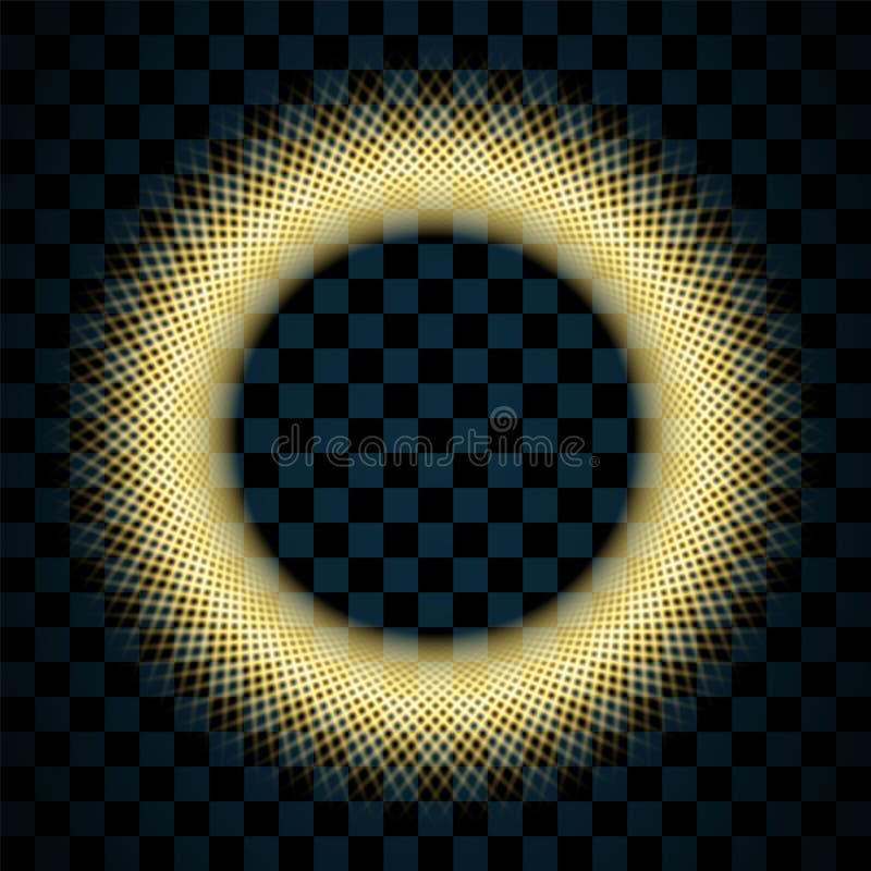 Círculo del oro aislado en fondo negro transparente Ring Frame de oro Ronda del brillo con las chispas brillantes brillante libre illustration