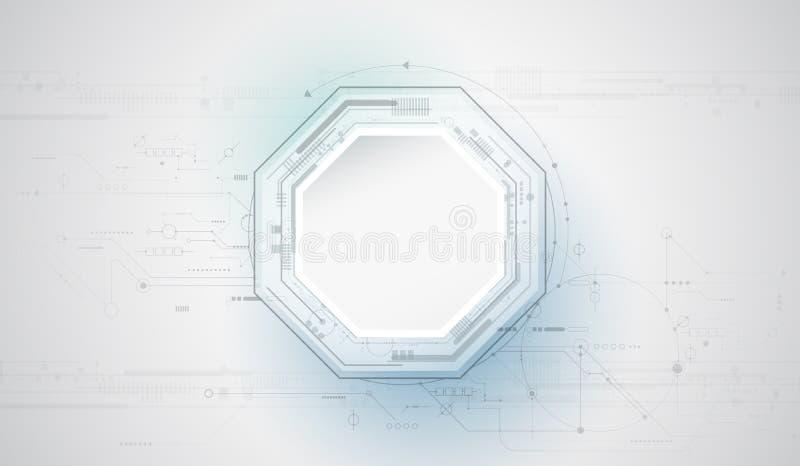 Círculo del papel del diseño 3d del vector con la placa de circuito ilustración del vector