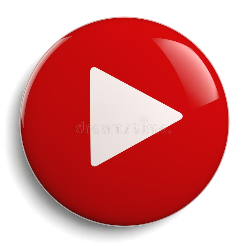 Círculo del rojo del botón del juego stock de ilustración