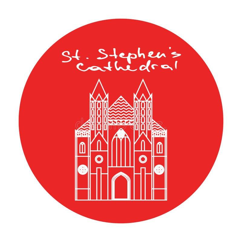 Círculo del rojo del vector del St Stephens Cathedral de Viena stock de ilustración