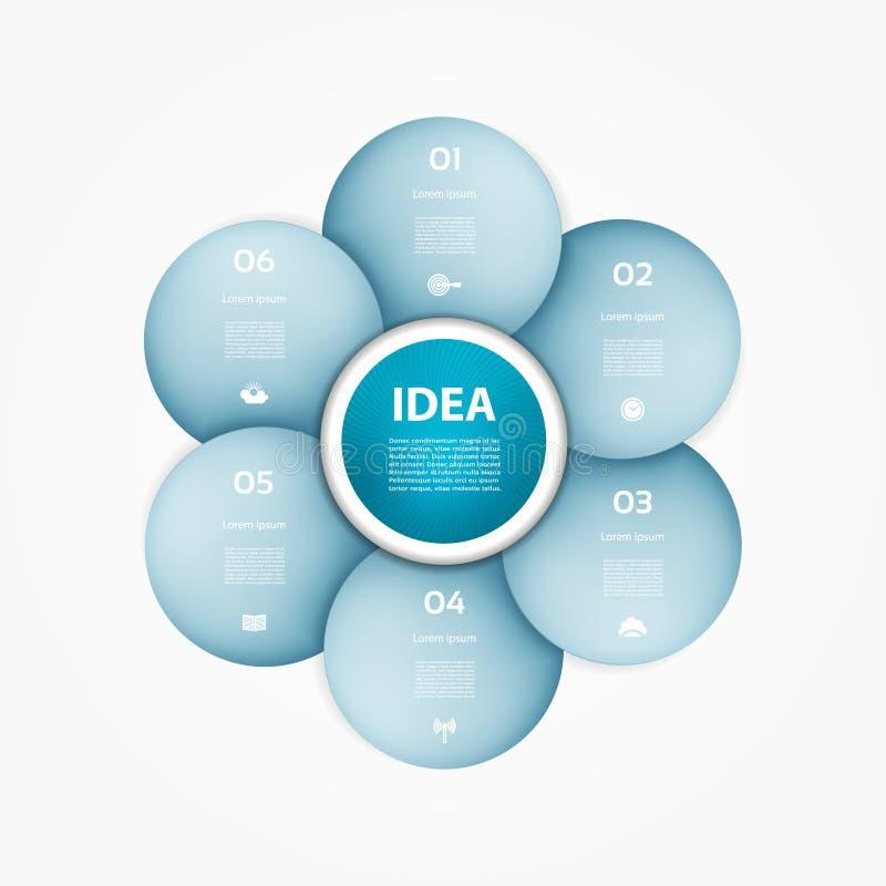 Círculo del vector infographic Plantilla para el diagrama, gráfico stock de ilustración