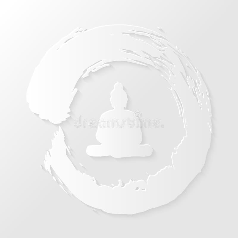 Círculo del zen y ejemplo de Buda ilustración del vector