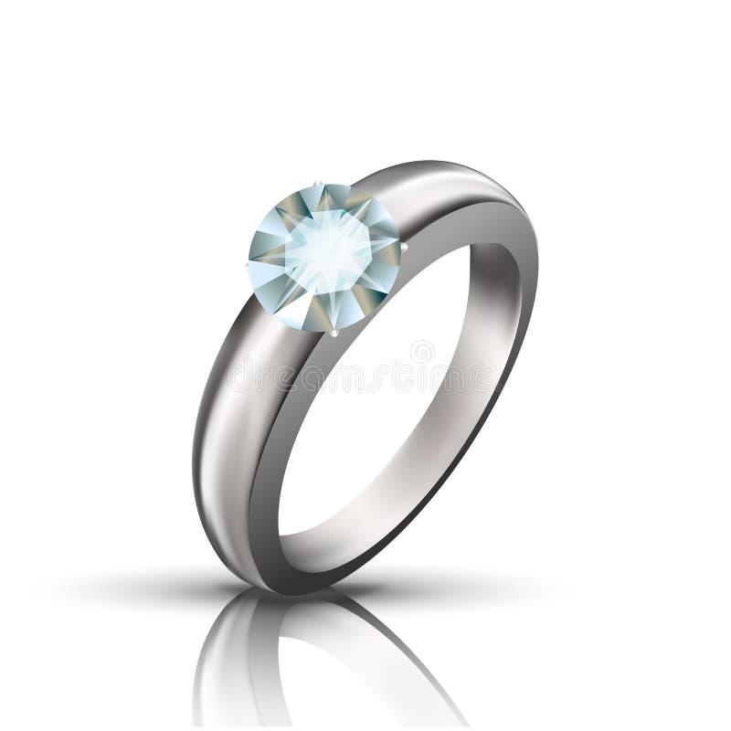 Círculo Diamond On Silver Or Platinum Ring Vetora ilustração stock