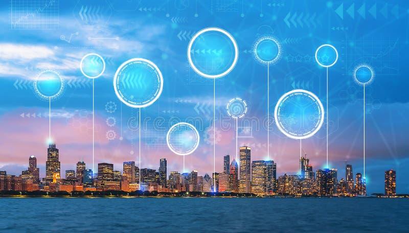 Círculo digital de la tecnología con Chicago céntrica fotografía de archivo