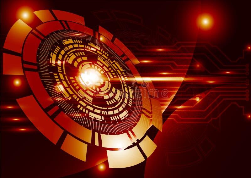 Círculo digital de la tecnología de la tecnología del extracto anaranjado del fondo stock de ilustración