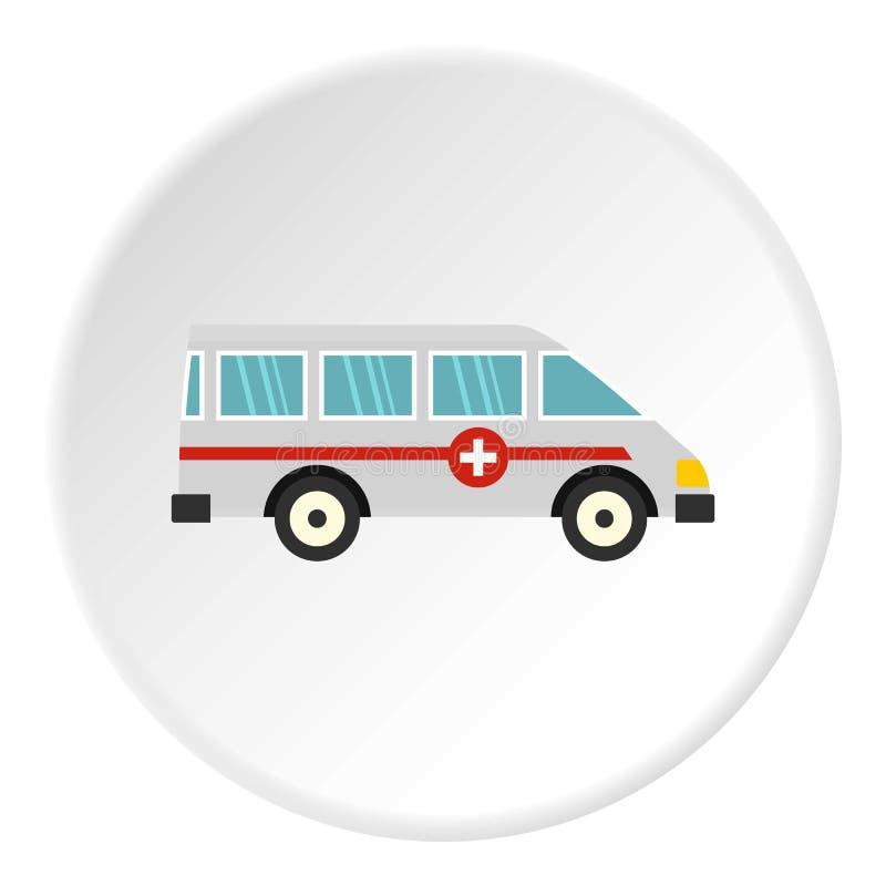 Círculo do ícone do carro da ambulância ilustração do vetor