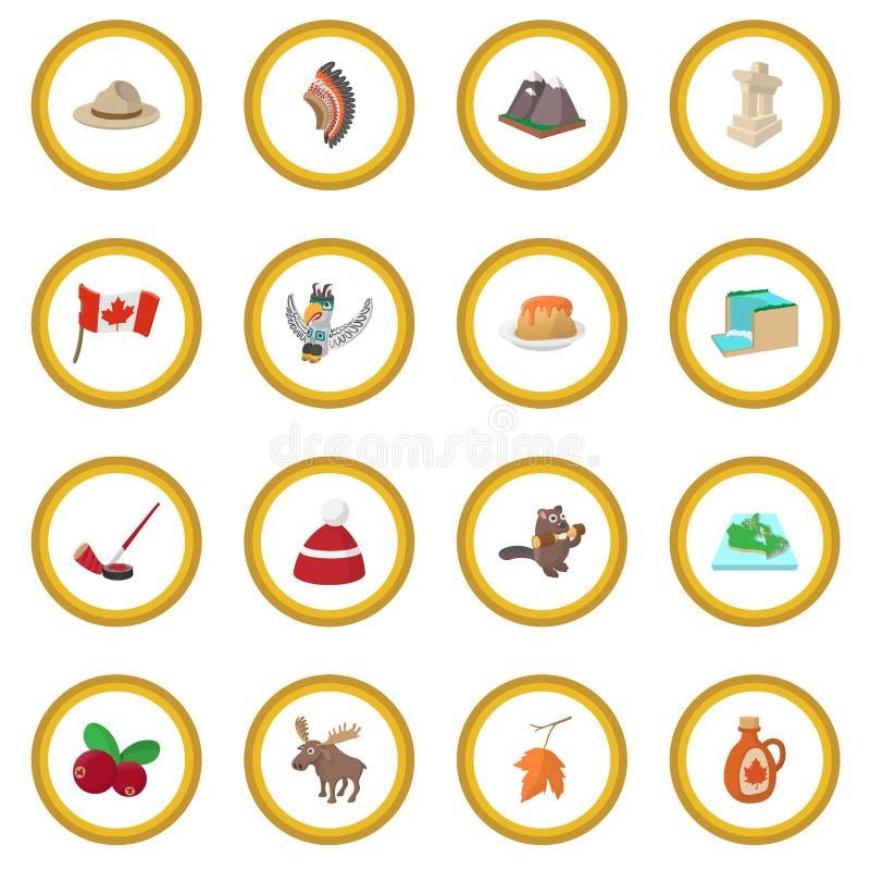 Círculo do ícone de Canadá ilustração royalty free