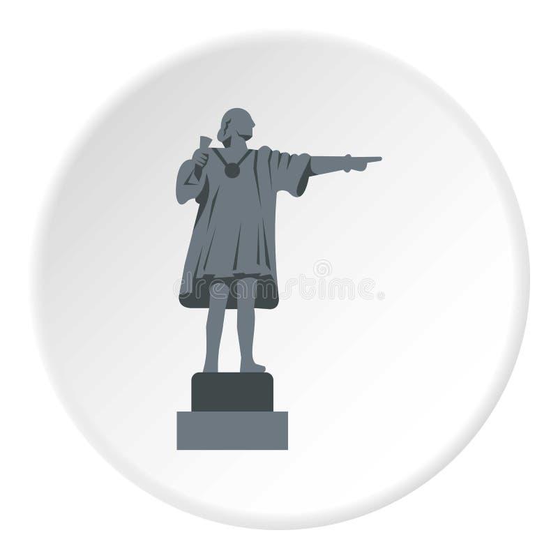 Círculo do ícone de Christopher Columbus Statue ilustração stock