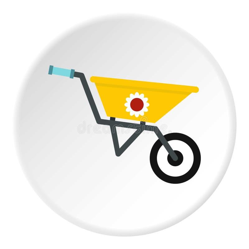 Círculo do ícone do carrinho de mão do jardim ilustração stock