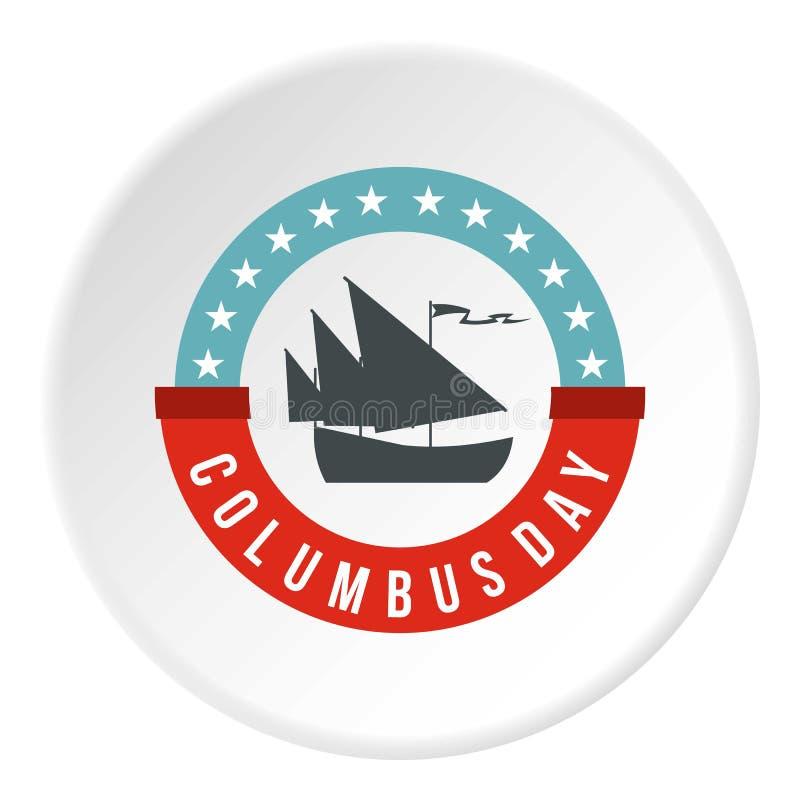 Círculo do ícone do crachá de Columbus Day ilustração stock