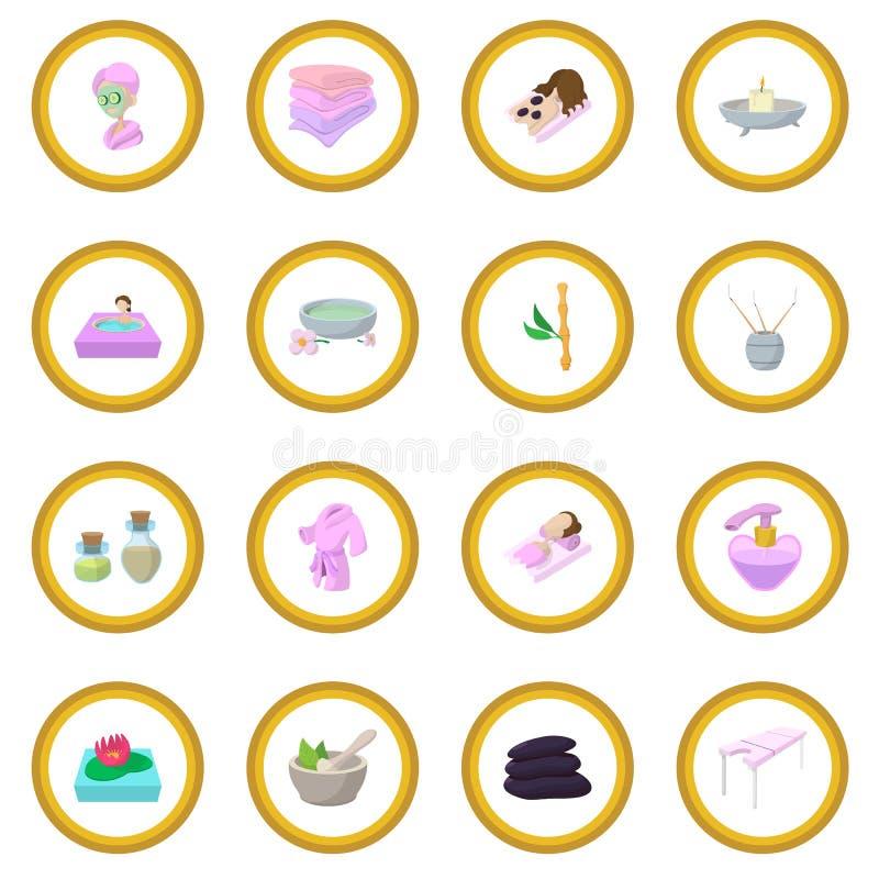 Círculo do ícone dos desenhos animados dos termas ilustração stock