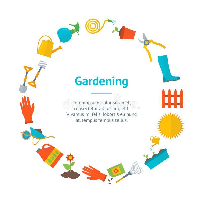 Círculo do cartão da bandeira do equipamento de jardinagem dos desenhos animados Vetor ilustração stock