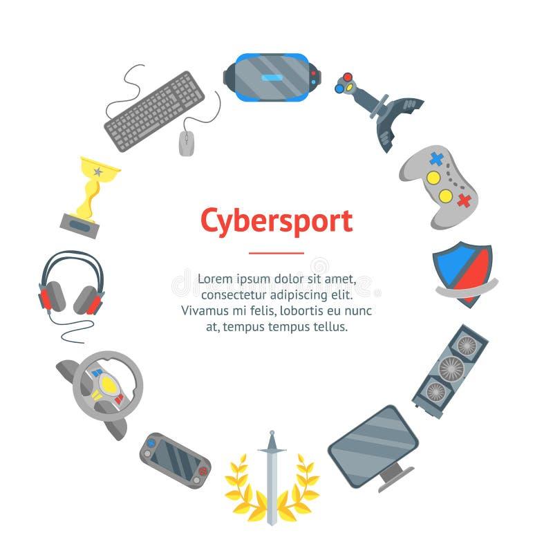 Círculo do cartão da bandeira do esporte do Cyber dos desenhos animados Vetor ilustração do vetor