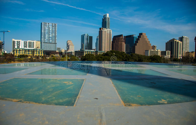 Círculo do divertimento Austin Texas Downtown Skyline foto de stock royalty free