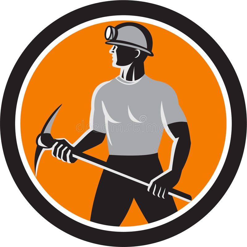 Círculo do lado de Holding Pick Axe do mineiro de carvão retro ilustração royalty free