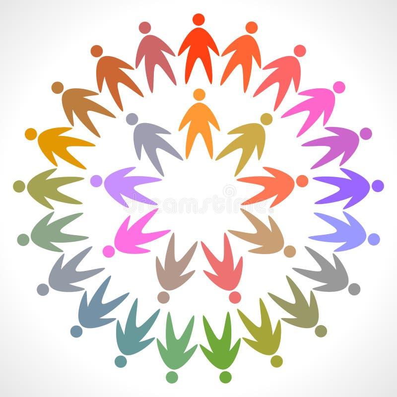 Círculo do pictograma colorido dos povos ilustração royalty free
