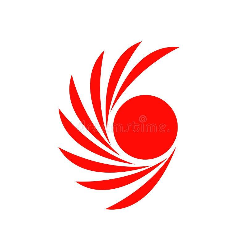 Círculo do projeto do logotipo do vetor e folha vermelha no eps 10 ilustração stock
