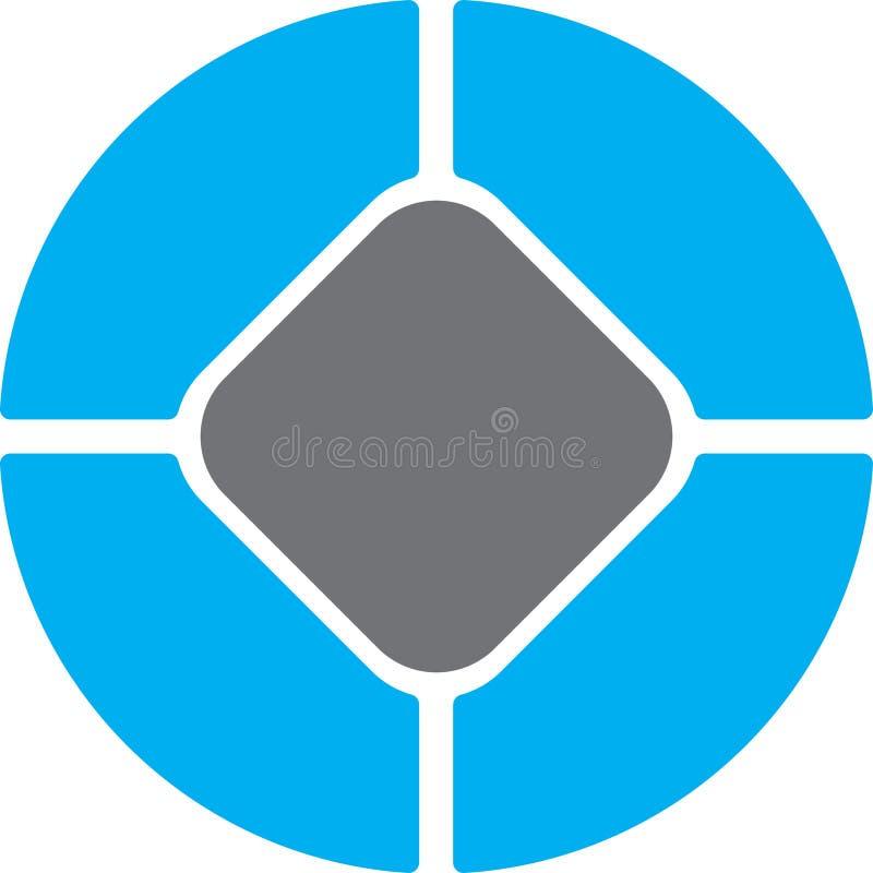 Círculo do regtangle do cinza azul ilustração stock