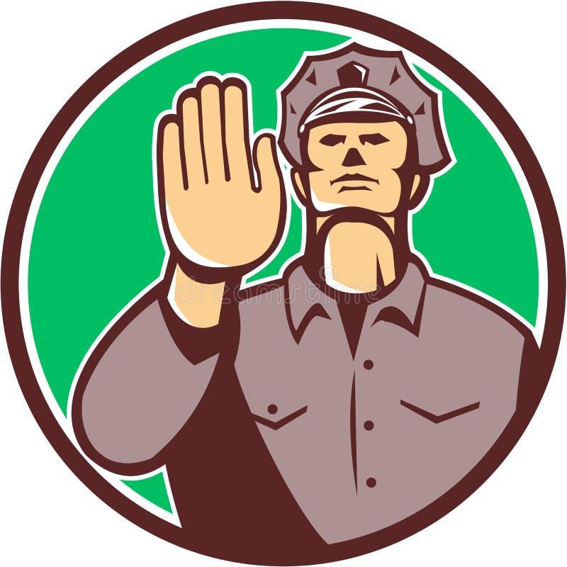Círculo do sinal da parada da mão do polícia de tráfego retro ilustração do vetor