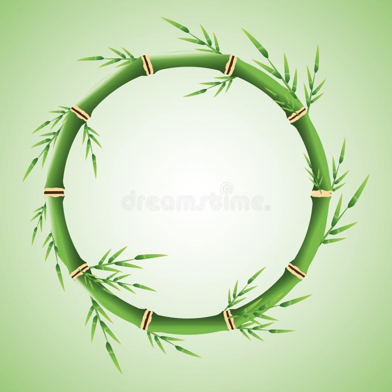 Círculo do tronco de bambu com projeto das folhas ilustração do vetor