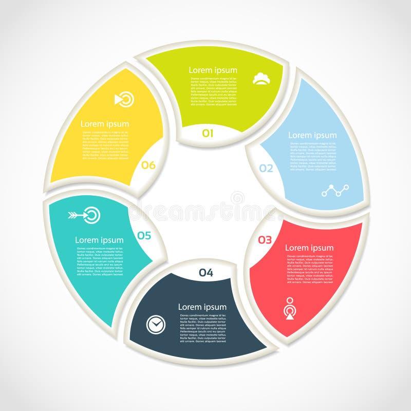Círculo do vetor infographic Molde para o diagrama do ciclo, o gráfico, a apresentação e a carta redonda Conceito com 6 opções, p ilustração do vetor