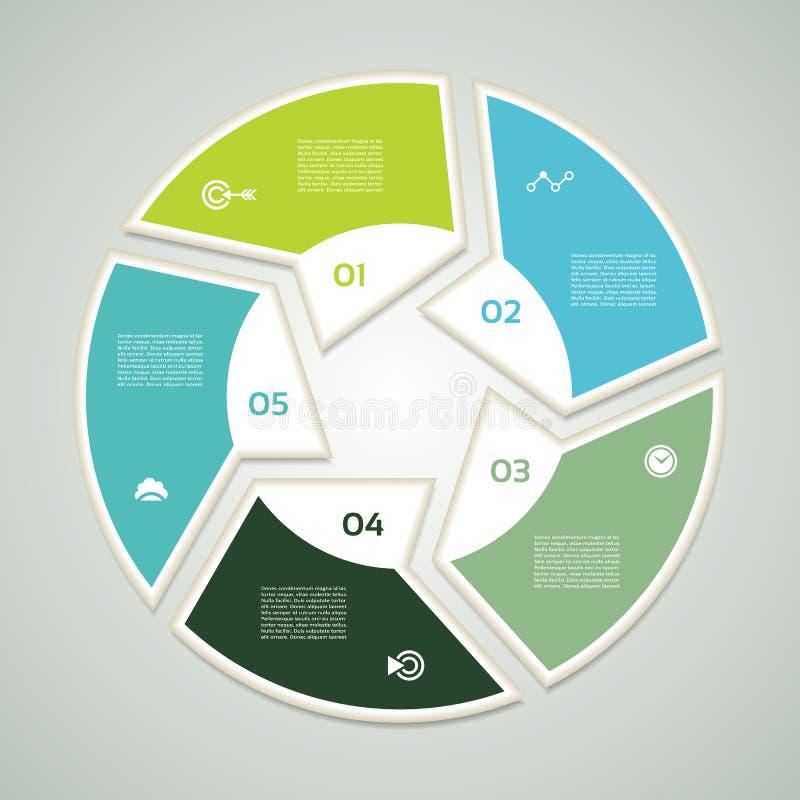 Círculo do vetor infographic Molde para o diagrama, o gráfico, a apresentação e a carta O conceito do negócio com cinco opções, p ilustração stock