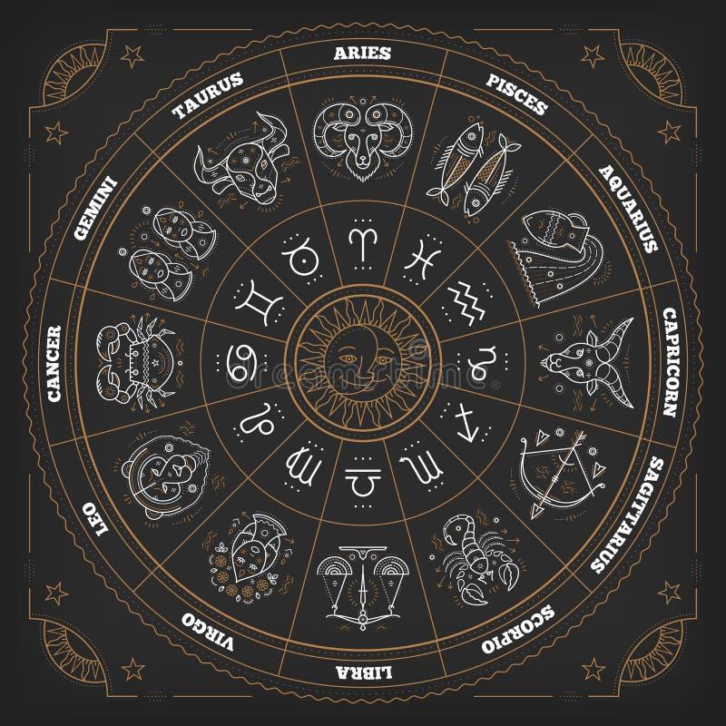 Círculo do zodíaco com sinais do horóscopo Linha fina projeto do vetor Símbolos da astrologia e sinais místicos ilustração royalty free
