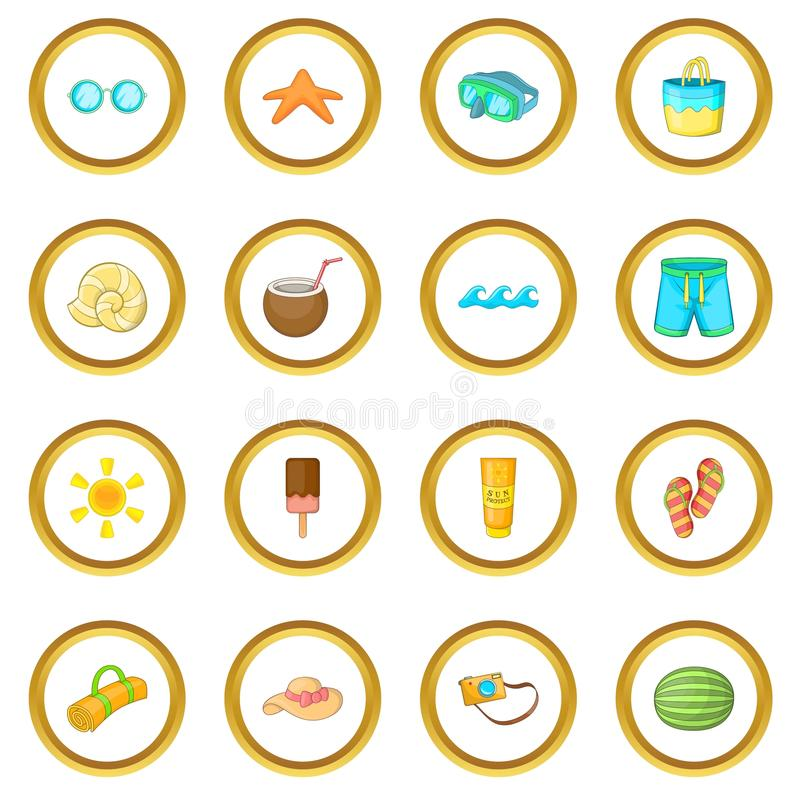 Círculo dos ícones dos artigos do verão ilustração royalty free