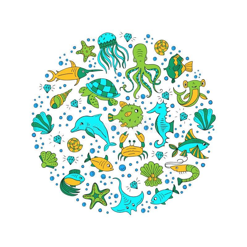 Círculo dos animais de mar ilustração royalty free