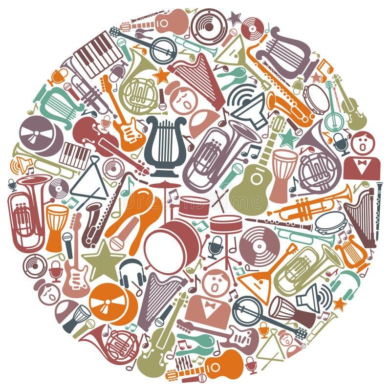 Círculo dos símbolos musicais ilustração stock