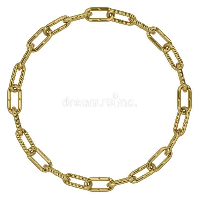 Círculo dourado dos elos de corrente ilustração royalty free