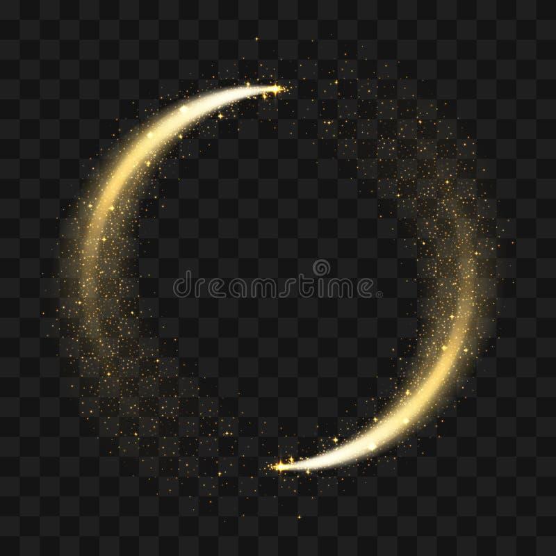 Círculo efervescente do brilho do ouro Partículas de brilho douradas do círculo do vetor com a fuga da luz da estrela e o fulgor  ilustração do vetor