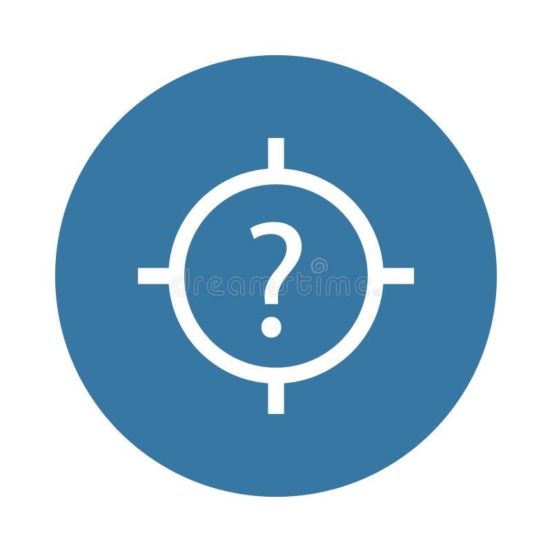 círculo en el centro de la pregunta Elemento del icono del web en estilo de la insignia ilustración del vector