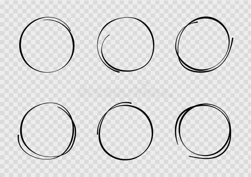 Círculo exhausto de la mano del bosquejo del diseño Garabato redondo gráfico en estilo del bosquejo Burbuja del proyecto del lápi ilustración del vector