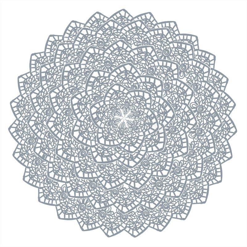 Círculo exhausto del diseño del vector del marco del cordón del elemento de la mano decorativa del fondo ilustración del vector
