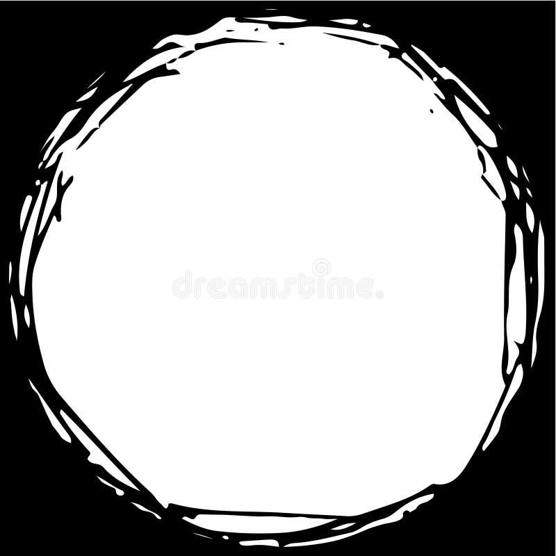 Círculo exhausto sucio de la mano redonda, poder usada como marco, rayas enredadas caóticas stock de ilustración