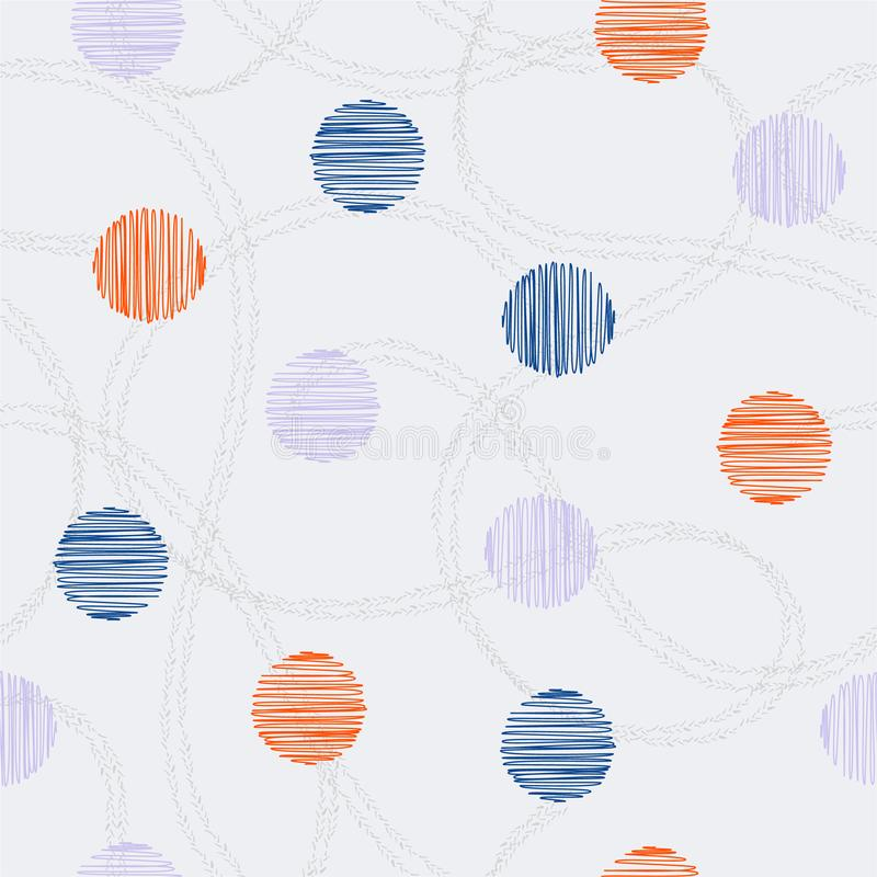 Círculo exhausto y lunares de la mano colorida de moda con la línea doble exhausta vector inconsútil al azar de la mano del model ilustración del vector
