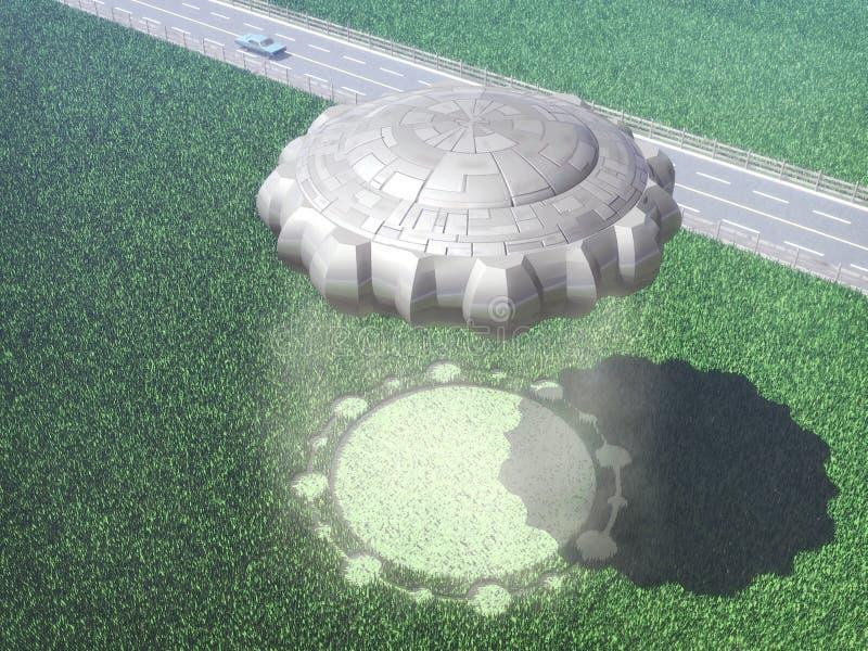 Círculo extranjero de la cosecha del UFO ilustración del vector
