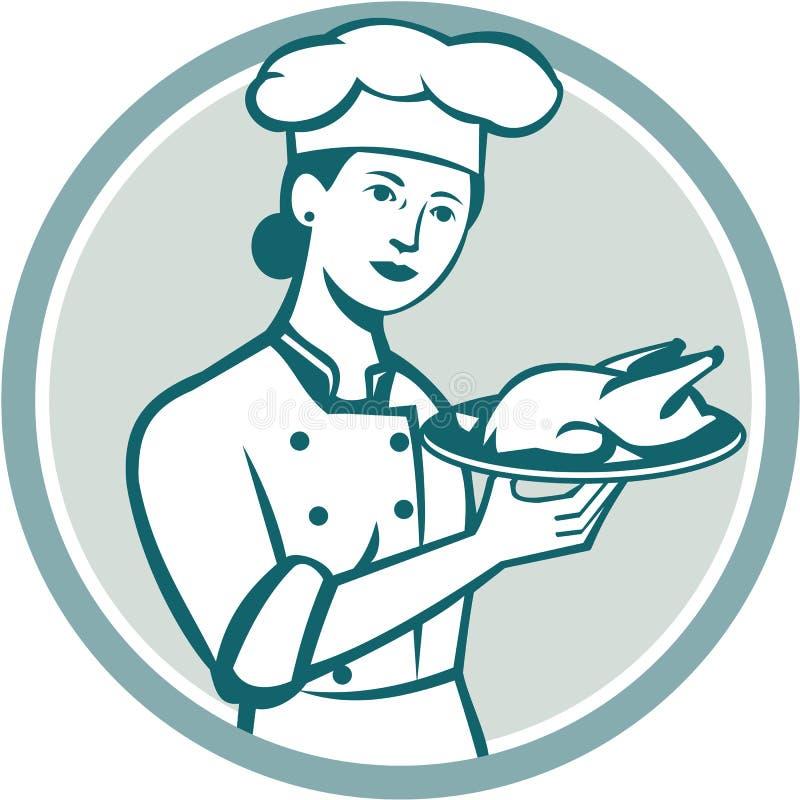 Círculo fêmea de Serving Chicken Roast do cozinheiro chefe retro ilustração stock