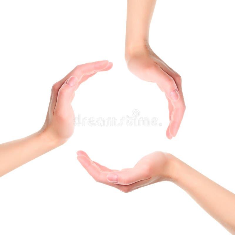 Círculo feito das mãos imagens de stock