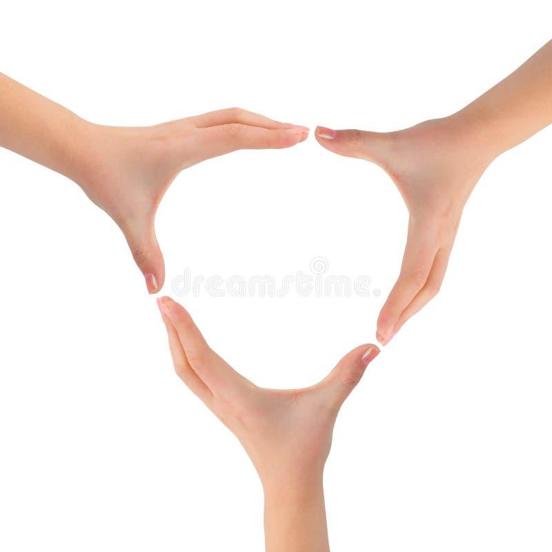 Círculo feito das mãos da mulher fotos de stock
