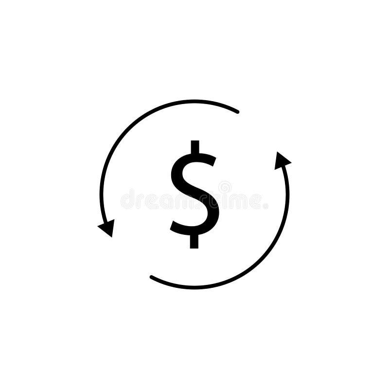 Círculo, flecha, icono del dólar Elemento del ejemplo de las finanzas Las muestras y el icono de los símbolos se pueden utilizar  stock de ilustración